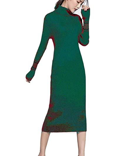 cf203a4f769 Womens maxi knit Dress for winter cashmere Slim Fit Pencil Midi Dress(Green)