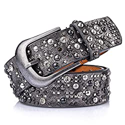 Riveted Silver Gray Crystal Studded Belt