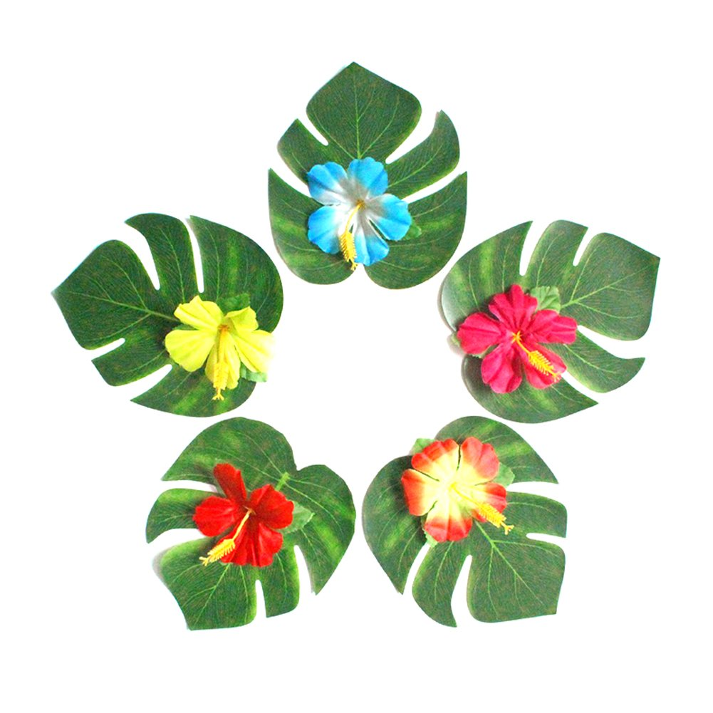 60 Piè ces Hawaii Tropical Feuilles Artificielles Artificiel Feuilles De Palmier Dé coration D\'inté rieur Plantes Artificielles Dé coration De Fê te Mariage 无