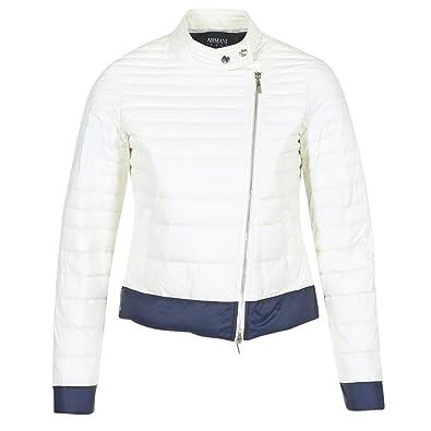 ARMANI Jeans BEAUJADO Abrigos Mujeres Blanco - EU 36 (IT 40) - Plumas: Amazon.es: Zapatos y complementos