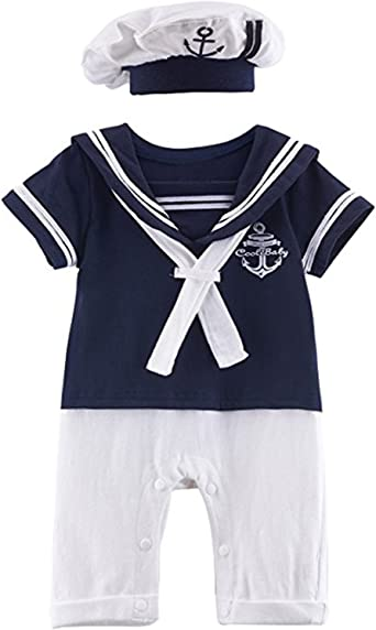 Newborn Kids Baby Boy Girl Anchor Sailor Romper Jumpsuit Bodysuit Clothes Outfit