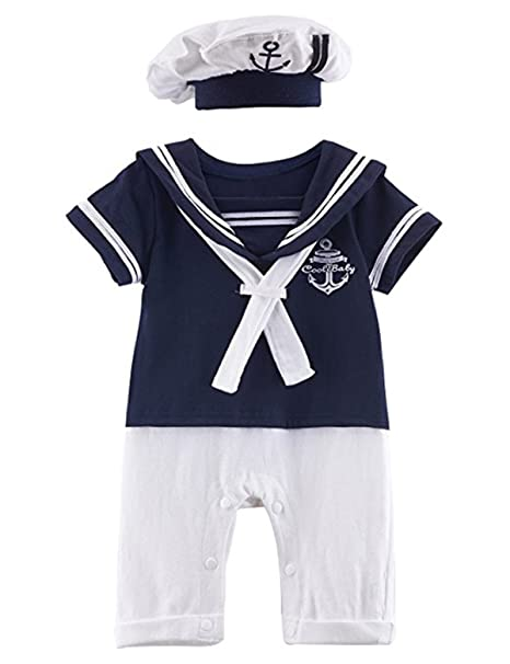 e529ddb2b Amazon.com: Baby Toddler Boys Anchor Sailor Onesie Outfit Romper Jumpsuit  Overalls with Hat: Clothing