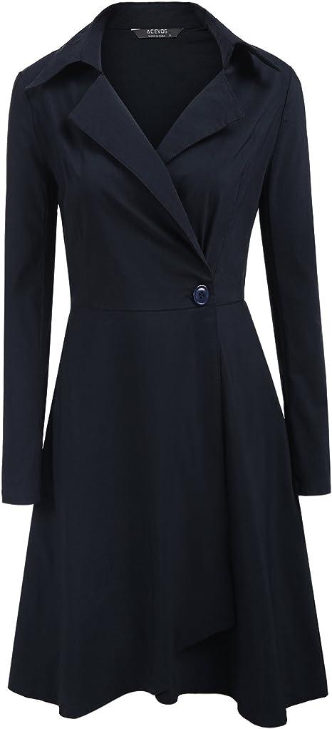 Damen Freizeit Bluse Hemd Kleid Mantel Locker Revers Langärmelig Oberbekleidung