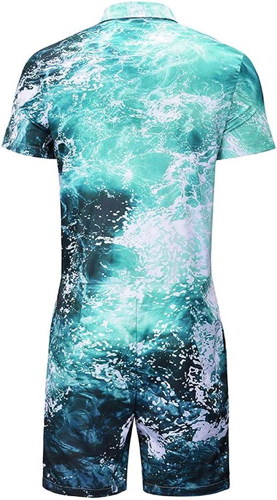 Mens Summer 3D Sea Printed Splicing Short Sleeve T-Shirt Top Blouse Print Jumpsuit