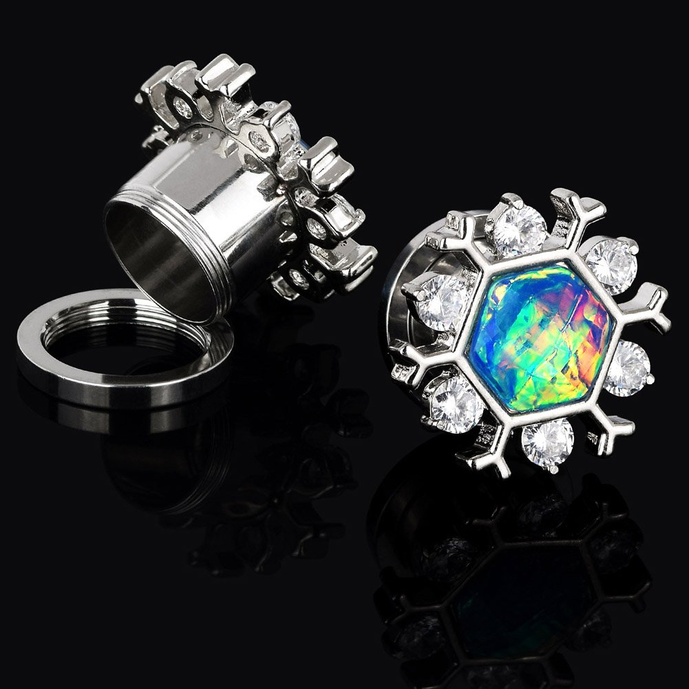 Qmcandy 2pcs 2g-5//8 Stainless Steel Snowflake Edge Opal Ear Gauges Piercing