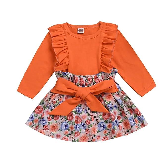 Vestido para niña pequeña con Volantes Naranjas Tops de Manga ...