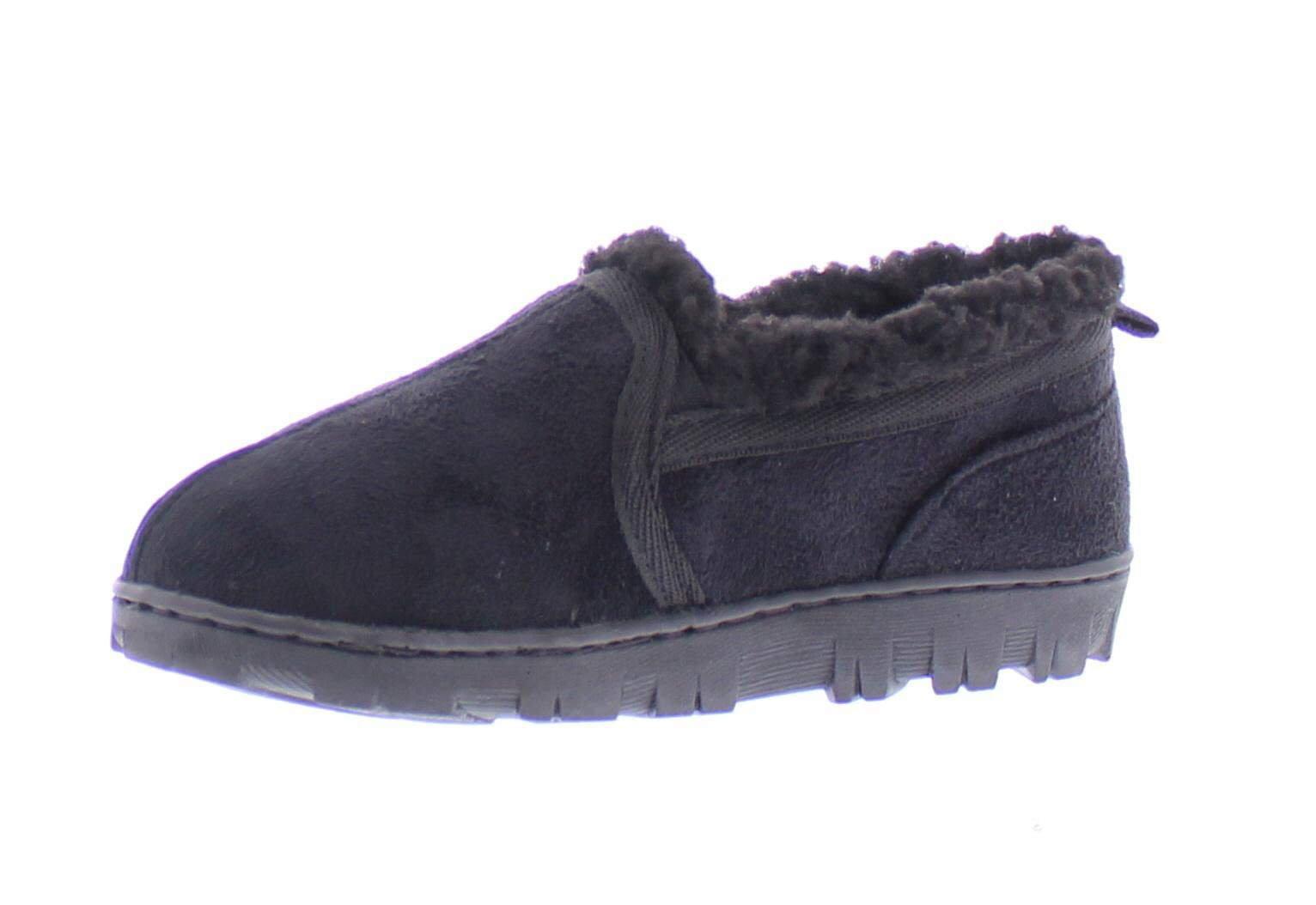 Gold Toe Norman Boy's Memory Foam Slippers Warm Sherpa Fleece Lined House Shoes Casual Slip On Loafers Black S 11-12