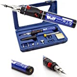 Wolf Cordless 6 in 1 Butane Gas Powered Soldering Iron Variable Temperature Torch Kit Heat Tool with Interchangeable Tips - Embossing, Wood Burning Pyrography, Hot Fix Stone Decoration, Melting, Shrinking, Cutting - Supplied in Strong Carry Case
