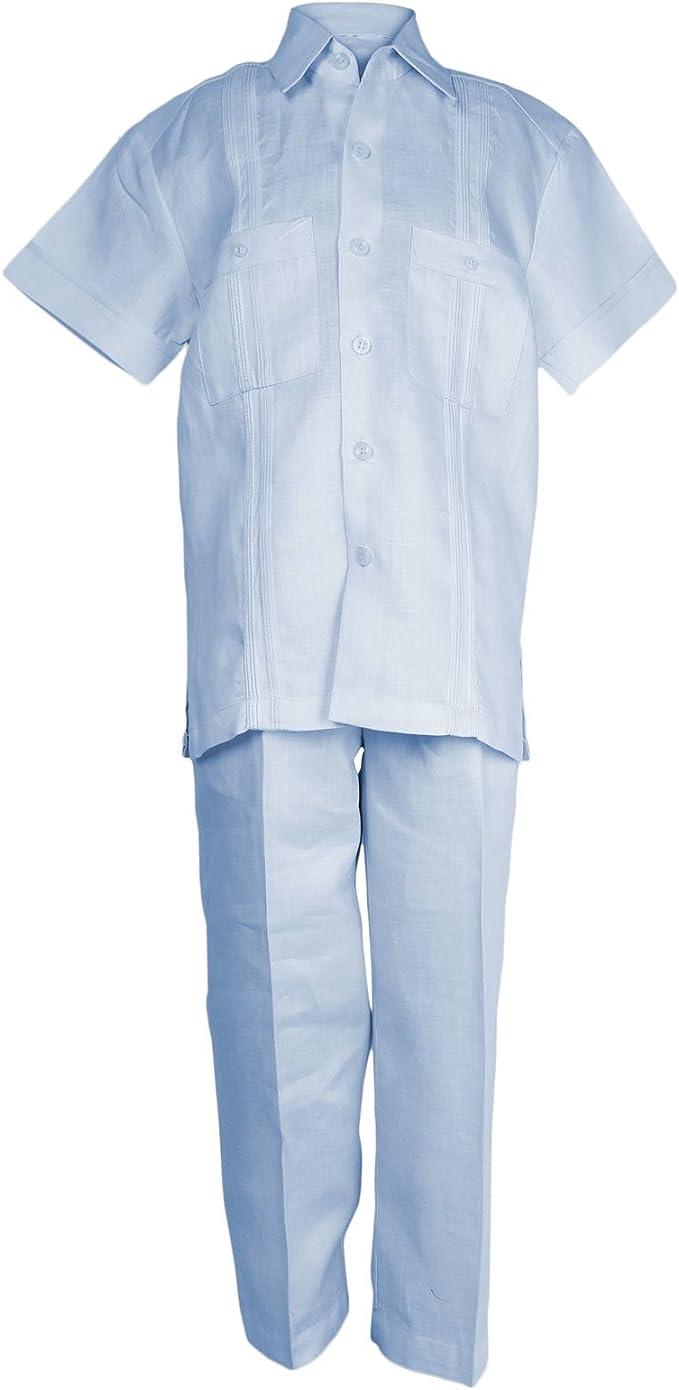 Mojito Kids Boys 100% Linen Two Pocket Guayabera Shirt and Pant Set