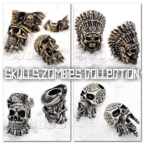 CooB EDC Paracord Bead Zombie Skull Pirate BlackBeard Warrior Collection Pendant, Charm Zipper Pul. DIY Hand-Casted Metal Amazing Beads Pendants for Paracord Bracelet Lanyard Keychain (1pcs/Lot) ()