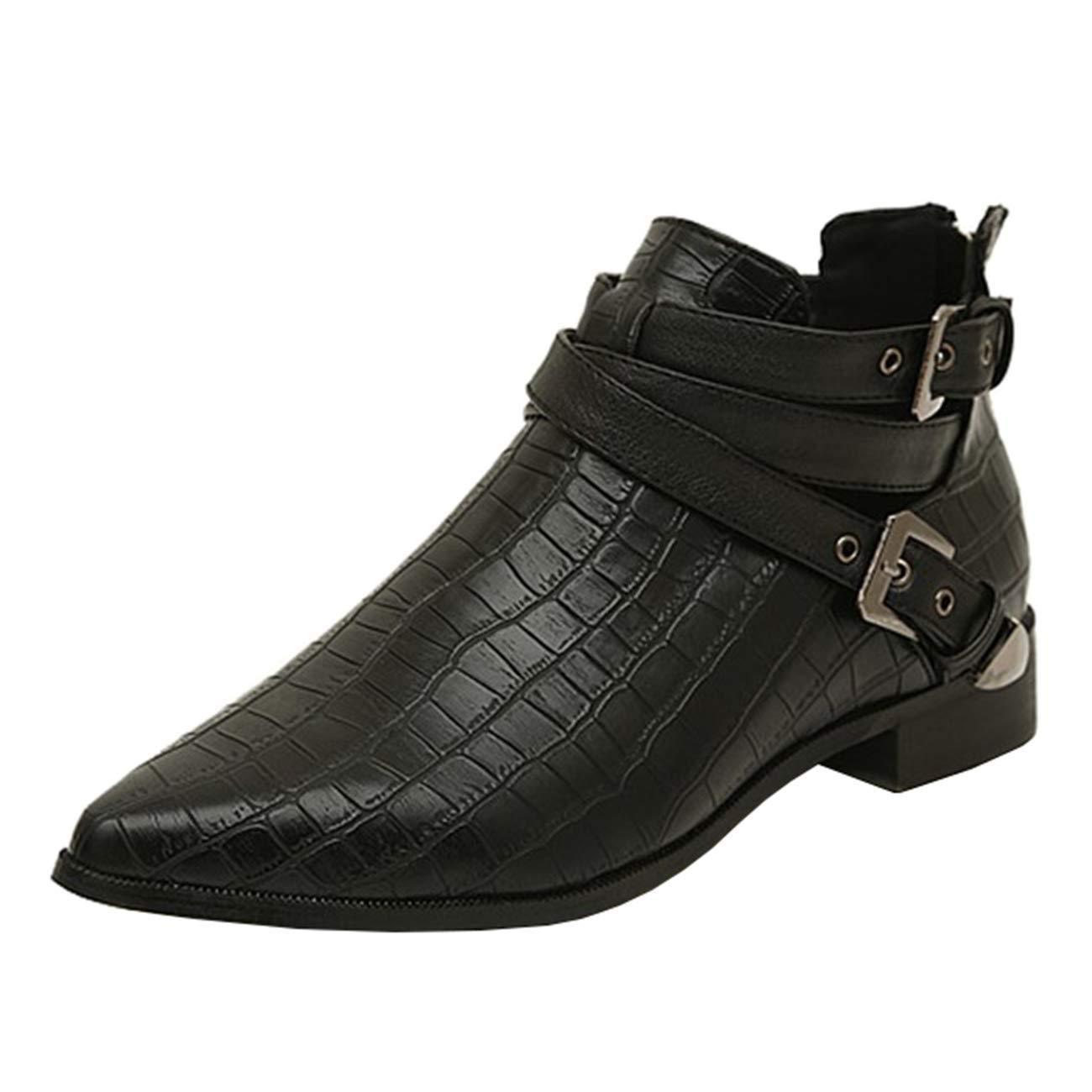 Eeayyygch Damen-Gladiator Block-Heel Zip Schnalle Schnalle Schnalle Ankle Stiefel (Farbe   Schwarz, Größe   4 UK) e67f0b