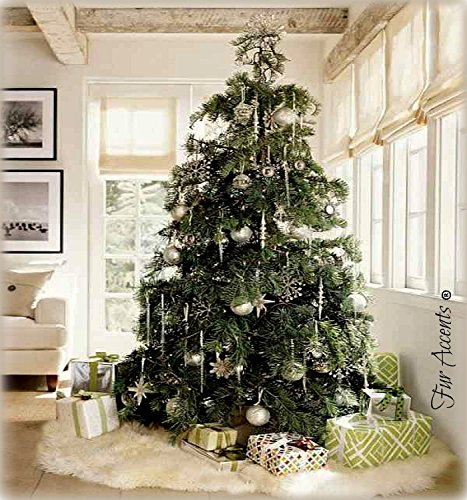 Fur Accents Classic Faux Fur Christmas Tree Skirt - Shaggy Shag Faux Sheepskin Round - White or Off White USA (8' Round, Off White) (Tree Sheepskin Skirt)