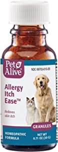 PetAlive Allergy Itch Ease Granules - Natural Homeopathic Formula Relieves Skin Itch and Redness Caused by Allergies or Eczema in Pets - 20g