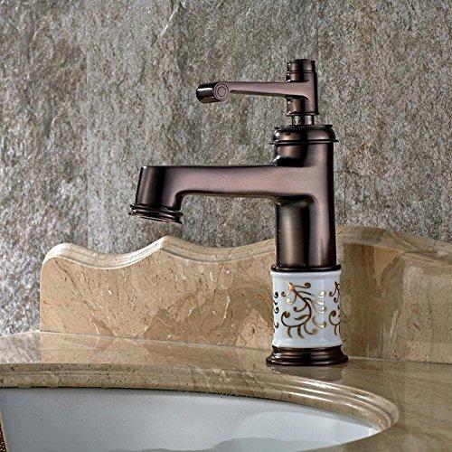 HYY@ All Copper European Black Copper Wash Basin Wash Basin Single Hole Water Counter Basin Faucet Antique Teapot Bathroom Cabinet Faucet best