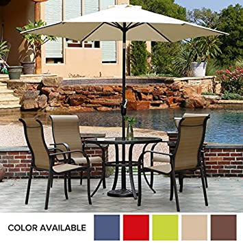 Grand patio 9 Feet Patio Umbrella, Outdoor Market Umbrella with Push Button Tilt and Crank, 6 Ribs, Beige