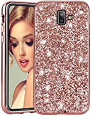 Bling Glitter Case for Galaxy J6 Plus 2018 Rose Gold, HMOON Sparkle Diamond Cover [Hard PC Back + Soft TPU Edge] Shockproof Protective Shell for Samsung Galaxy J6 Plus 2018