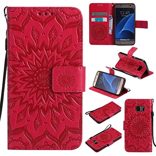 Galaxy S7 Case, KKEIKO® Galaxy S7 Flip Leather Case [with Free Tempered Glass Screen Protector], Shockproof Bumper Cover and Premium Wallet Case for Samsung Galaxy S7 (Red)