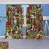 Philiphome Thermal Insulated Blackout Window Room Doodles Style Art Bingo Excitement Checkers King Tambourine Vegas Top Extra Long Curtains Set of 2 Panels