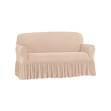 Terrific Ruffle Stretch Stain Resistant Slipcover Furniture Cover Protector Taupe Loveseat Pdpeps Interior Chair Design Pdpepsorg