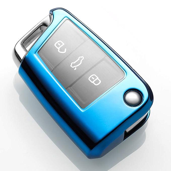 Azul Funda de TPU Suave para Llave + Llavero para Coche VW Volkswagen Golf 7.GTI 7.Golf R R20 MK7 MKVII Skoda Octavia A7