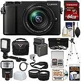 Panasonic Lumix DC-GX9 4K Wi-Fi Digital Camera & 12-60mm Lens (Black) + 64GB Card + Battery + Case + Tripod + Flash + Video Light + Tele/Wide Lens Kit