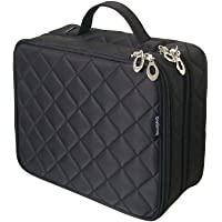 ONEGenug Cosmetic Makeup Bag & Organizer Double Layer Dot Pattern Travel Toiletry Bag Organizer, Size L Black
