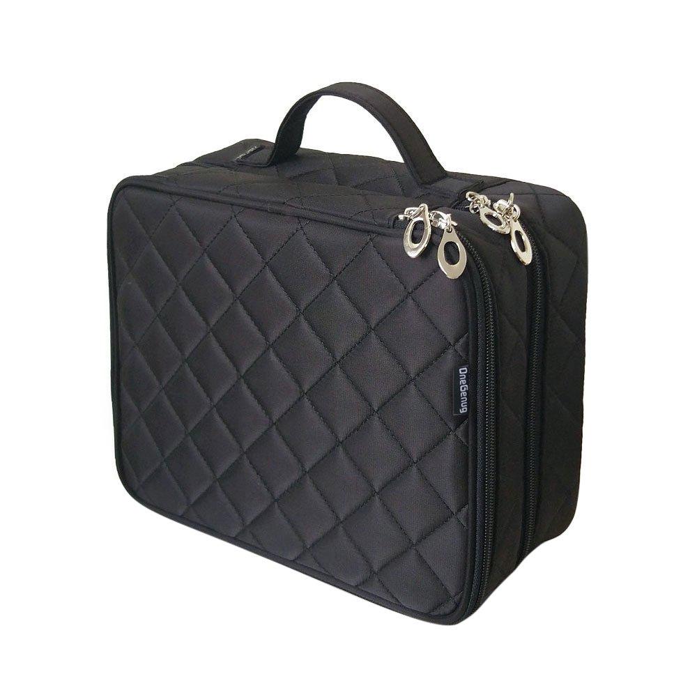 ONEGenug Cosmetic Makeup Bag & Organizer Double Layer Dot Pattern Travel Toiletry Bag Organizer, Size L Black