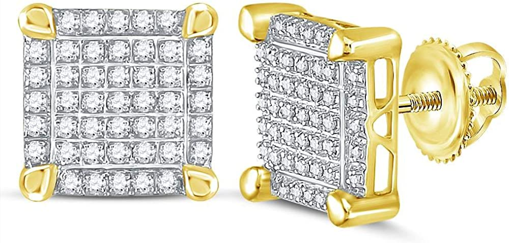 Jewels By Lux 10kt Yellow Gold Mens Round Diamond Square Cluster Stud Earrings 1//4 Cttw In Pave Setting I3 clarity; J-K color