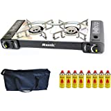 Portable Gas Stove Cooker 2 burners Camping Outdoor BBQ Caravan Carry Bag NEW