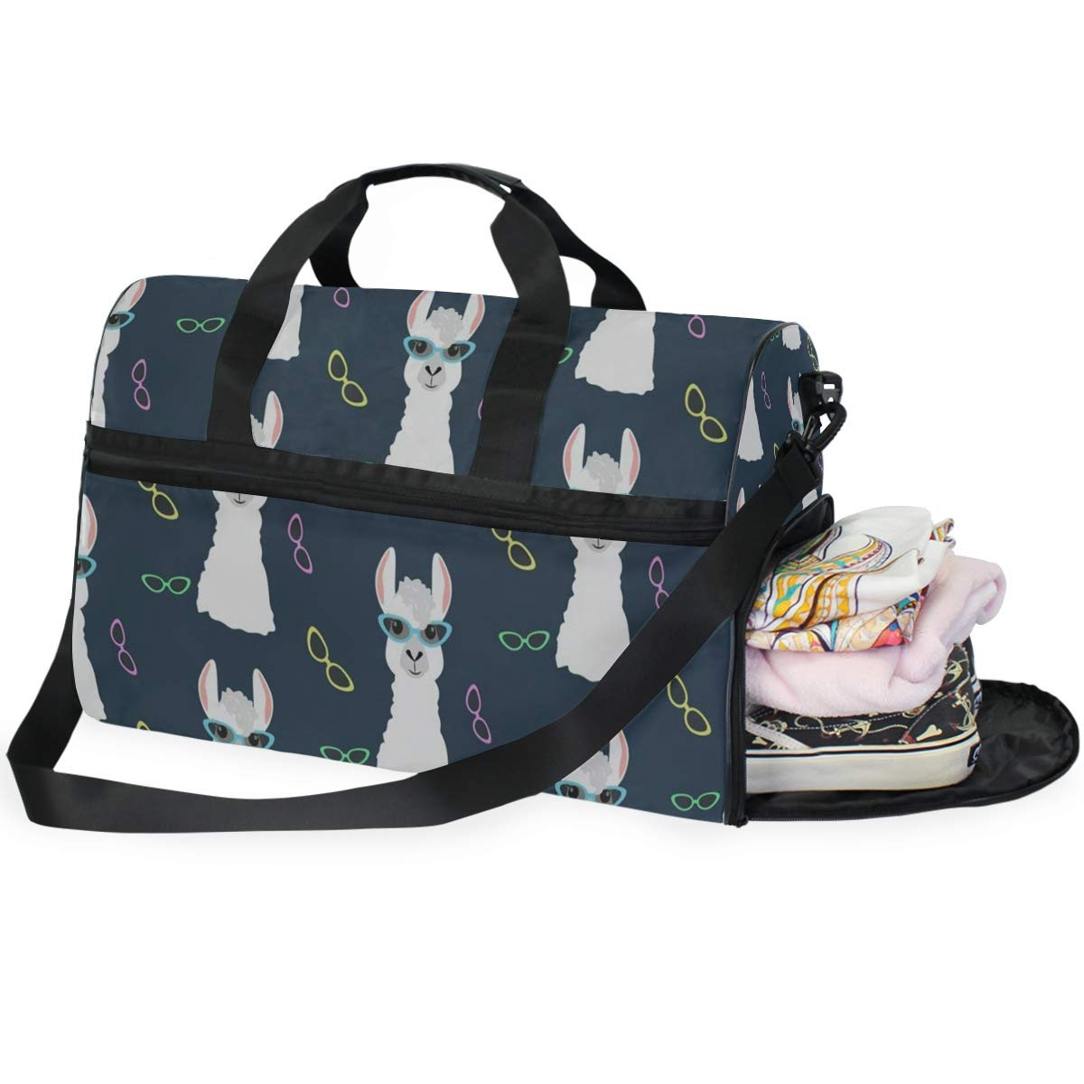 Travel Tote Luggage Weekender Duffle Bag Alpaca Wearing Glasses Large Canvas shoulder bag with Shoe Compartment
