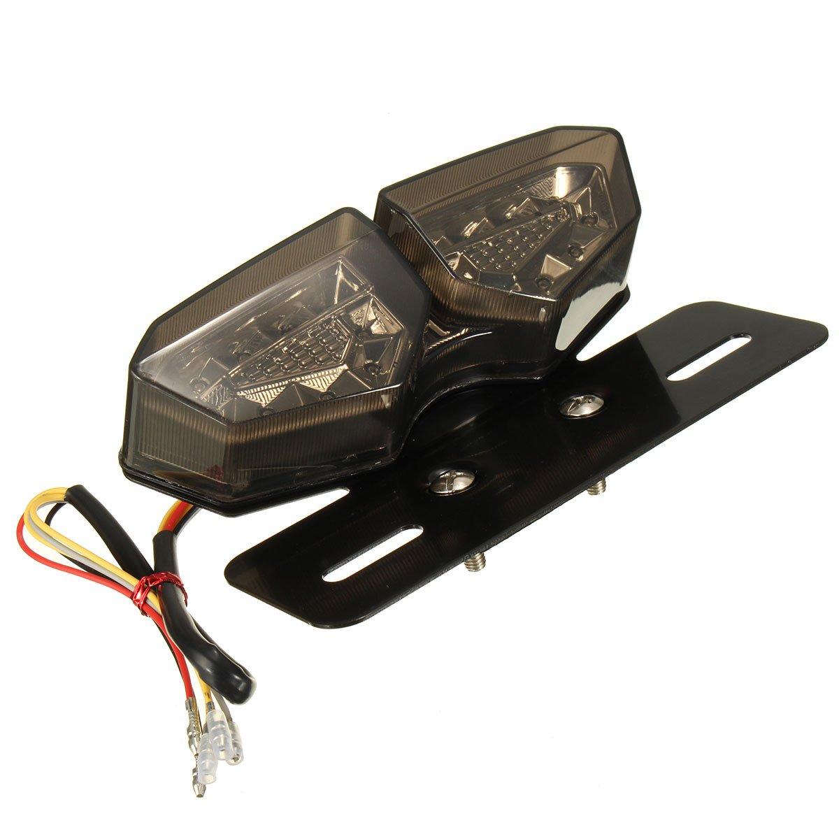 ETbotu Moto 12/V LED Feu Arri/ère Tourner Signal de Frein Arri/ère Lampe de Lumi/ère Support de Plaque dimmatriculation Moto dassemblages