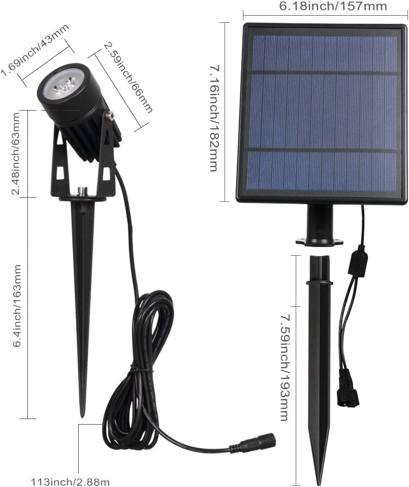 T-SUN Auto ON//Off for Security Lighting. LED Solar Spotlights Waterproof Outdoor Garden Lights 180/°Angle Adjustable 2 in 1 Easy Installation Solar Landscape Lights Natural White 4000K 2 Pack