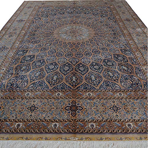 10'x14'Elegant Handmade Persian Silk Carpet, Hand Knotted Area Rug, Handwoven Tapestry, Traditional Geometric Carpet for…
