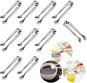 Huture 10 PCS Stainless Steel Mini Sugar Flatware Pastry Ice Tongs Pom Cube Pliers Candy Appetizers Serving Clip 11cm Dishwasher Safe Kitchen Tongs for Wedding Party BBQ Tea Coffee Bar Grill, Silver