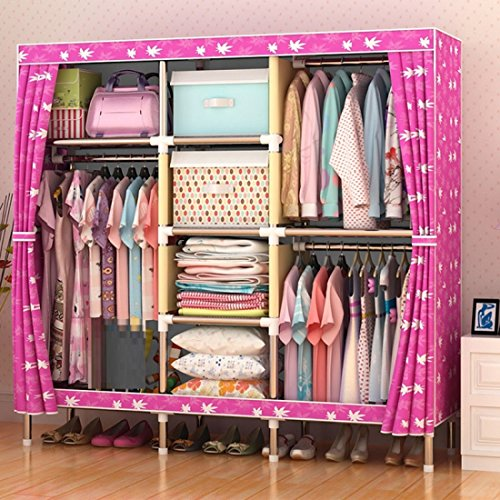 GL&G Wardrobe Closet Oxford cloth Free Standing Storage Organizer – Home finishing decoration Portable, Detachable, and Steel Pipe Lightweight Clothing Closet ,F,65''67'' by GAOLIGUO