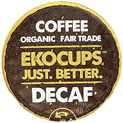 EKOCUPS Organic Artisan Coffee, Decaf , Light roast for Keurig K-cup single serve Brewers, 13g, 10 count