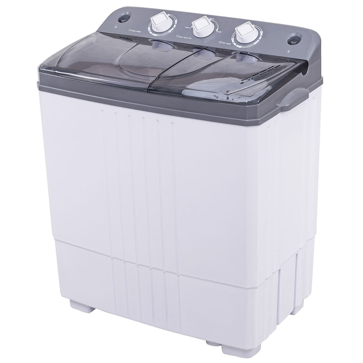 COSTWAY Twin Tub Washing Machine Electric Compact Portable Durable Design Washer 16Lbs Capacity Energy Saving, Rotary Controller and Washer Spin Dryer with Hose (Grey and White)