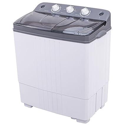 COSTWAY Mini Portable Washing Machine, Electric Compact Washer Durable  Design Twin Tub 16Lbs Capacity Energy