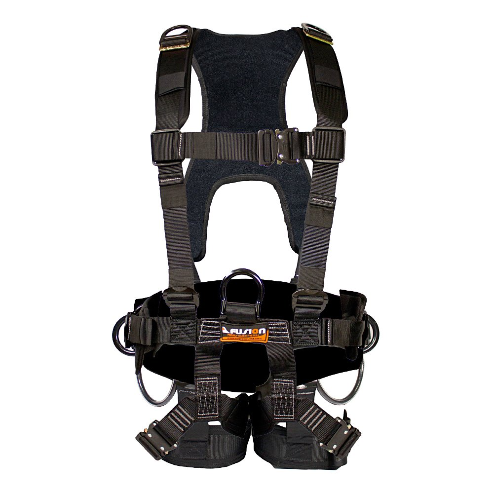 Fusion Climb TacScape Heavy Duty Tactical Full Body Padded H Style Rescue Harness Black Size SM