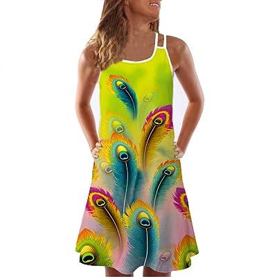 F_Gotal Womens Dress Casual Floral Mini Tank Dress T Shirt Dress Boho Beach Cover Up T-Shirt Short Dress Beach Sundress at Women's Clothing store
