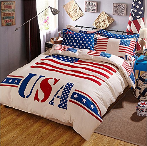 Maketop Us Flag American Bedding Set, Duvet Cover Flat Sheet Set, Queen (4pc without comforter)
