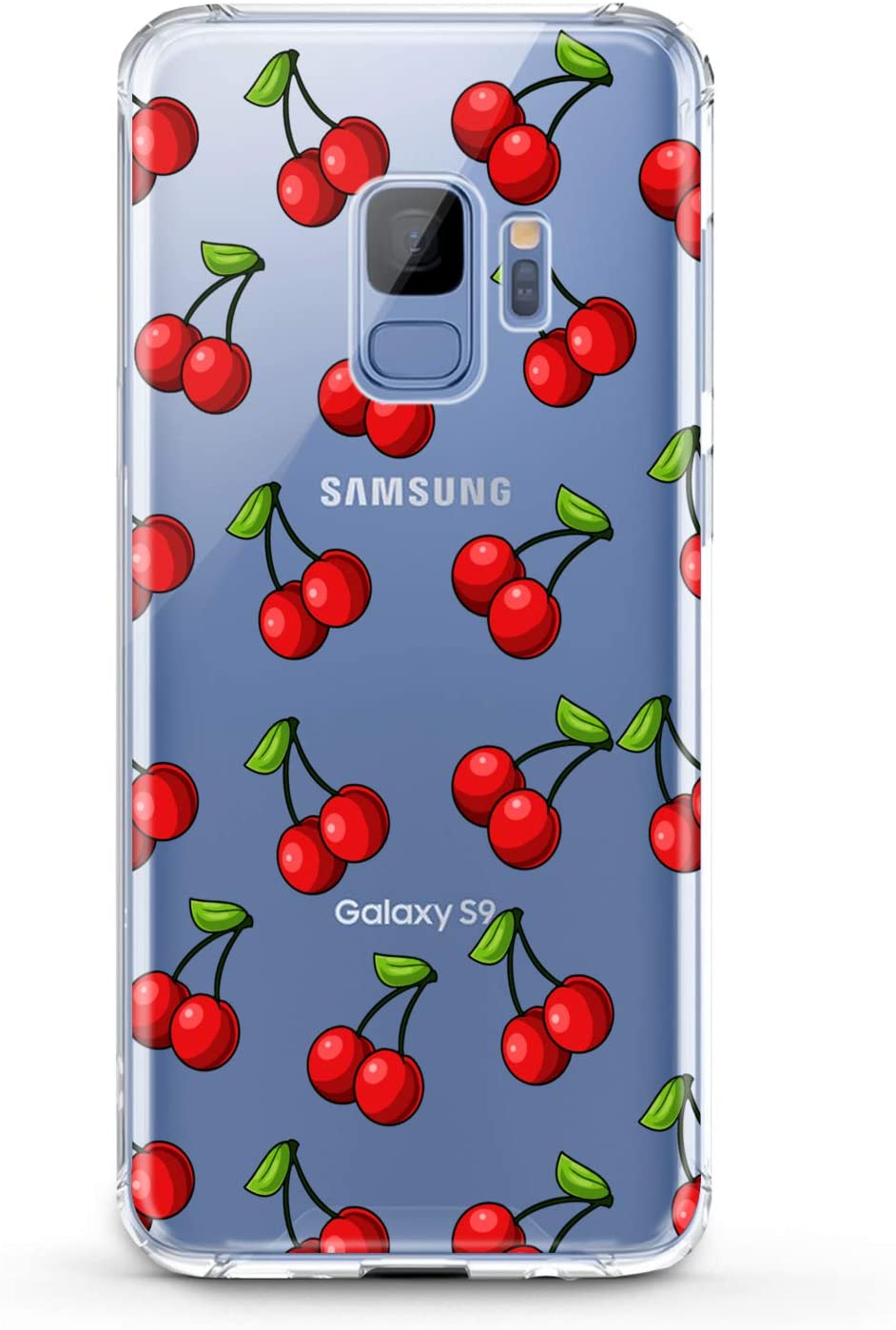 Anreda TPU Case Compatible with Samsung Galaxy J8 J7 Prime J6 Plus J5 J4 Core J2 Summer Red Clear Slim fit Cute Flexible Gift Smooth Tropical Soft Lux Print Fruit Art Food Cover Design Cherry Lovely