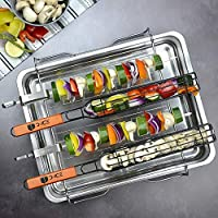 Grilling Basket /& Kabob Skewers D-ICE Set of 8 Non-Stick Kabob Grilling Baskets Chicken and Meat Fish Vegetable BBQ Grill Comes with a Set of 4 Shashlik Skewers Onion