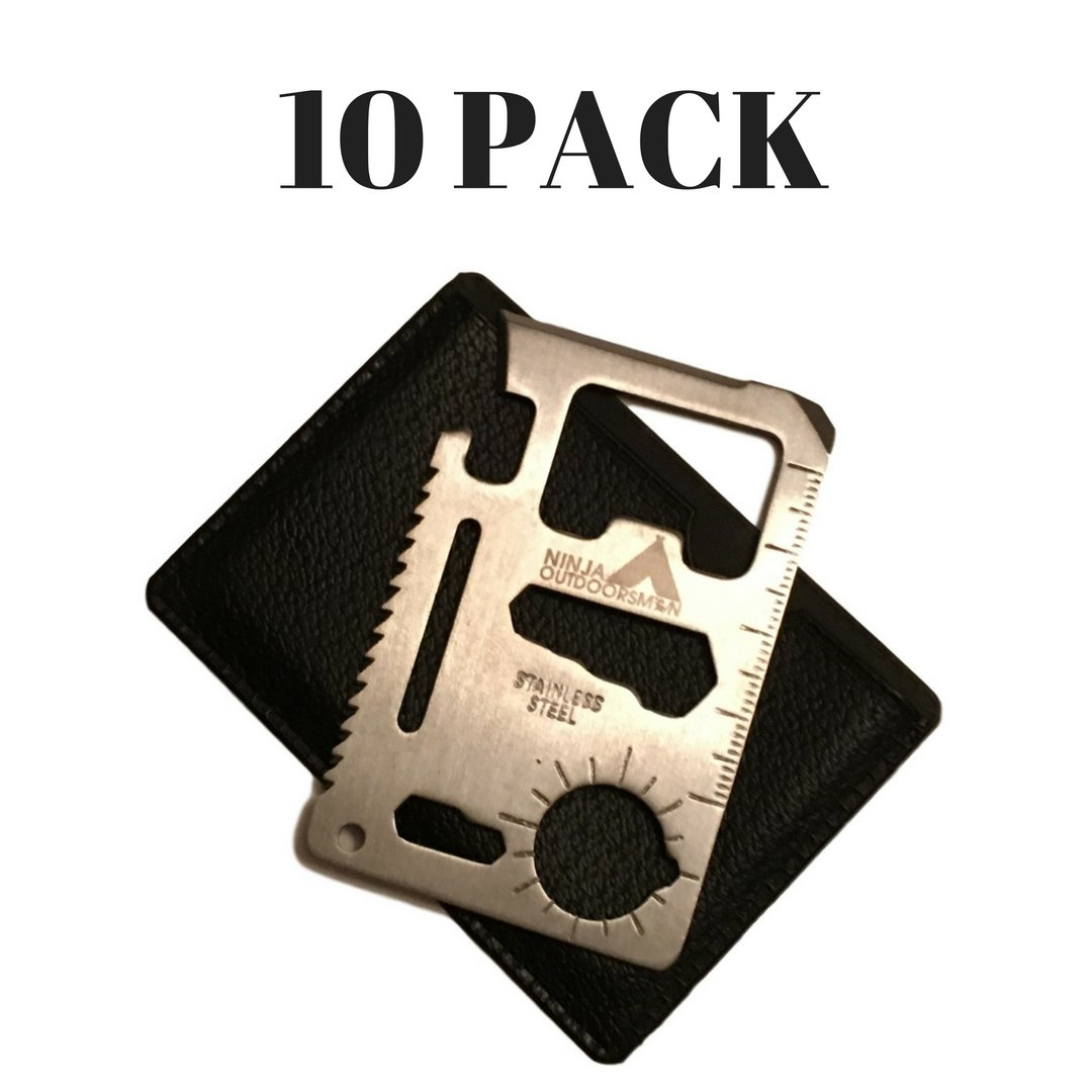 Ninja Outdoorsman 11 in 1 Stainless Steel Credit Card Pocket Sized Survival Multi tool (10 pack)