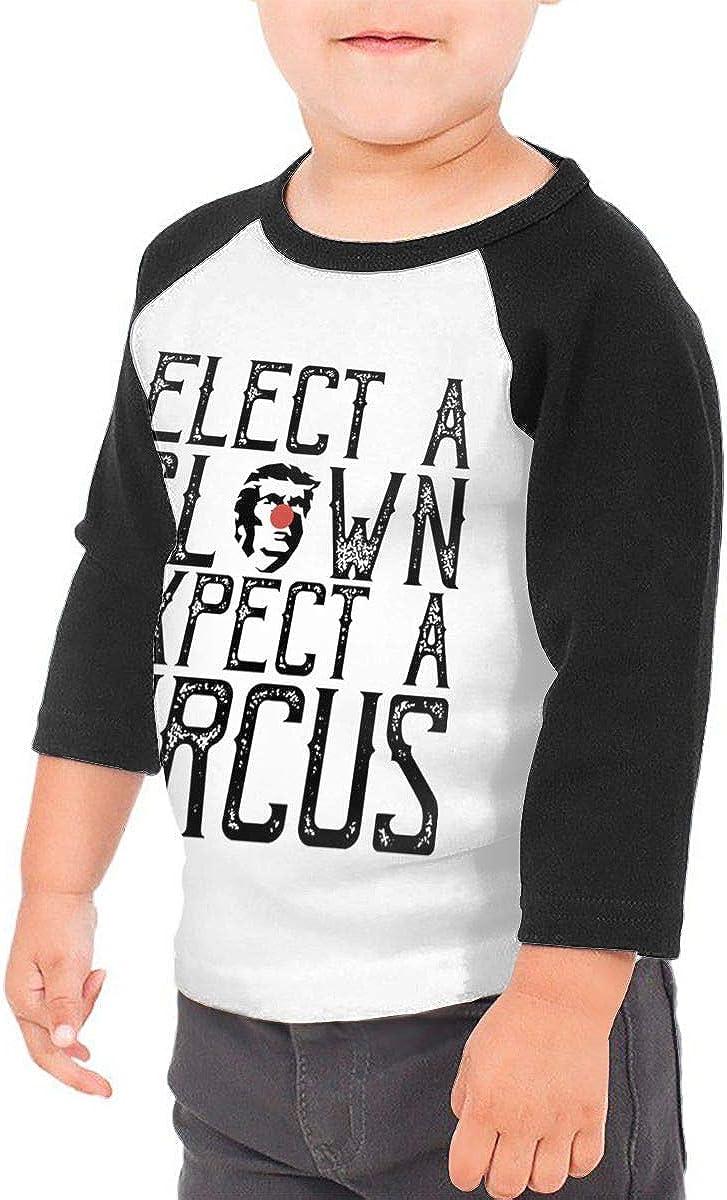 Kocvbng I Elect A Clown Expect A Circus Raglan 3//4 Sleeves Tshirt for Girls Boys