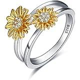 Sunflower Rings Sterling Silver Wedding Band Sun Flower Gifts for Women Birthday
