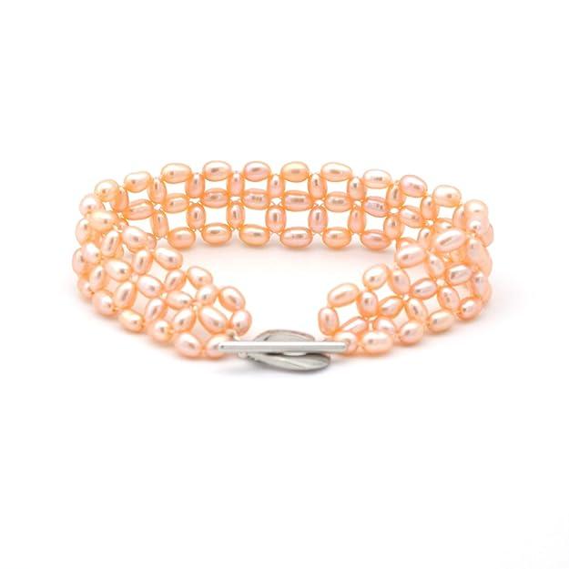 ELAINZ HEART Pulsera Elegante para Mujer Brazalete de Perlas de Color Rosa para Mujer,con 4-5 mm de Perlas ovaladas Rosadas cultivadas de Agua Dulce