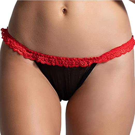 9c17b1383bc Dreamgirl Women s Open Back Hearth Detail Panty Stretch Mesh Ruffle Strap  Black Red Small