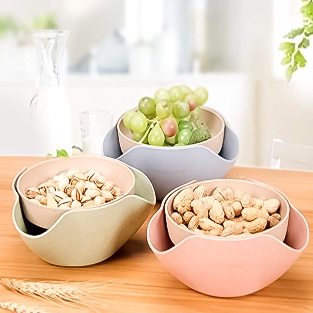Pistachio Bowls - Double Dish Bowl - Nut Bowl, Double Dish Serving Bowl for Pistachios, Peanuts, Edamame, Cherries, Nuts,Fruits with Shell Storage (3 set)