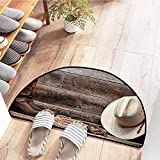 SEMZUXCVO Semicircular Door mat Western Decor Collection American West Rodeo Traditional Straw Cowboy Hat with Authentic Leather Boots Print Anti-Fading W30 x L18 Beige Brown